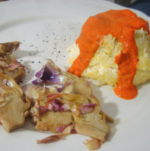 Tortini di riso con salsa di peperoni