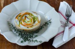Torta salata al grano saraceno con crescenza e verdura